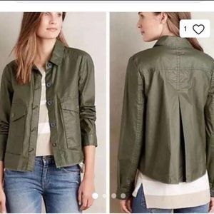 Anthropologie Jacket Hei Hei Coated Green